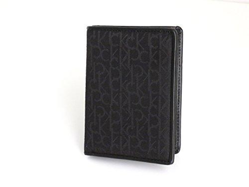 Calvin Klein Portafoglio vertical nero in pelle e tessuto jacquard 9 x 12,5 x 2
