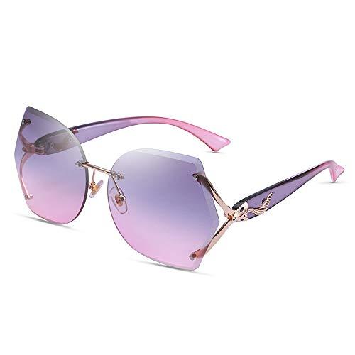 Alvndarling UV-Schutzbrille für Damen Polygonmode passend/Outdoor-Sonnenbrille Anti-UVAUVB (Farbe : Purple Powder Progressive Color)