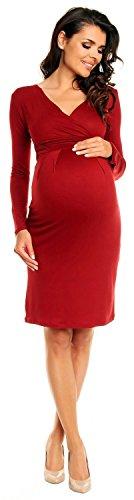 Zeta Ville Damen Umstands-Kleid Umstandsmoden-Shirtkleid Lange Ärmel 285c Crimson