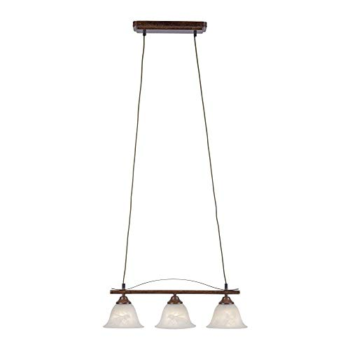 Pendelleuchte, IP 20, Vintage, Deckenlampe, Edel-Rost, Romantik, rustikal, LED fähig, E14-Fassung max. 40 Watt, 3-flammig