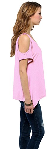 Urban GoCo Femmes Casual Grande Taille Hors épaule T-Shirt V-col Manches Courtes Tops Rose pastel