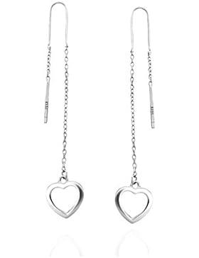 SOFIA MILANI Damen-Ohrringe Ohrhänger Durchzieher Herz Lang 925 Sterling-Silber + Geschenkbox – 20388