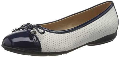 Geox D ANNYTAH C, Bailarinas para Mujer, Blanco White/Blue C0006, 36 EU