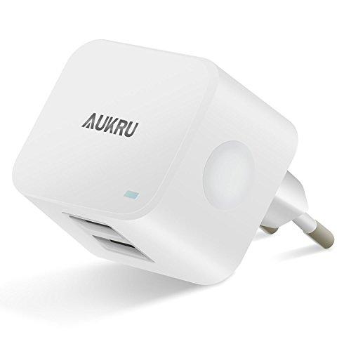 Aukru 2 USB ladegerät 5V 3.4A USB Adapter für Apple iPhone 6/ 6 Plus ipod ipad & handy Smartphones Samsung Galaxy S6, S6 Edge und andere Android USB Geräte (5V 1A& 5V 2.4A) 5v 1a Dual-usb -