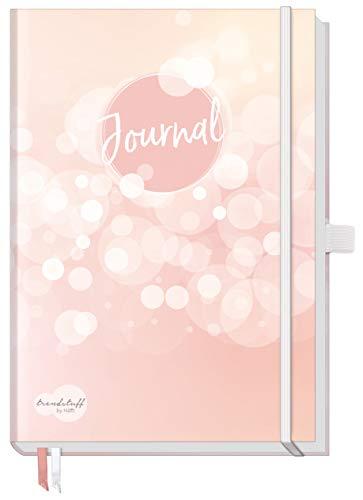 Trendstuff Premium Bullet Journal dotted, Notizbuch A5 gepunktet [Dreamy] Tagebuch mit Punkteraster, Gummiband & Stifthalter | robust, biegsam, abwischbares Cover + extra dickes Papier -