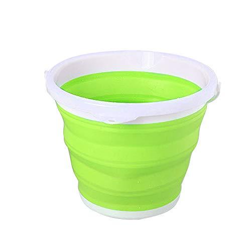 Faltbarer Eimer mit Griff und Aufhängeloch - Tragbarer Wasservorratsbehälter für den Außenbereich und den Haushalt - Faltbarer runder Plastikeimer für Reisen, Camping, Angeln(10L,Grün)