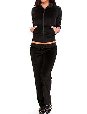 24brands CHICK REBELLE - Damen Nicki Sportanzug Sporthose Sport Anzug Jacke Fitness Freizeit Bekleidung - 1998, Größe:S;Farbe:Schwarz
