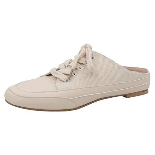 FNKDOR Schuhe Damen Canvas Hausschuhe Mode Wild Lace-Up Pantoffeln Outdoor Slipper Slides Beige 36 EU Tone Peep Toe Slingback Sandal