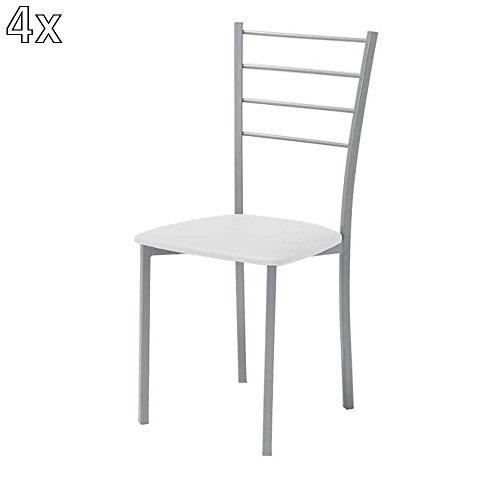 Tomasucci Just set di 4 sedie in eco pelle panna