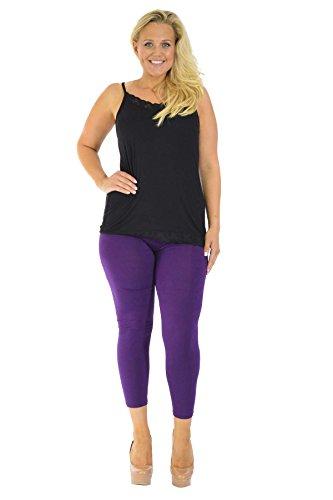 Neu Damen Übergröße Ebene Lange Gamaschen Frau Ladies Plus Size Long Leggings Nouvelle Collection 7000 (Größe 48-50, Lila)