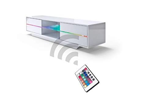 Robas Lund 59075W14 Blues Media TV-Lowboard, Klarglasboden, RGB LED Wechselbeleuchtung mit Fernbedienung, MDF Hochglanz weiß lackiert - 8
