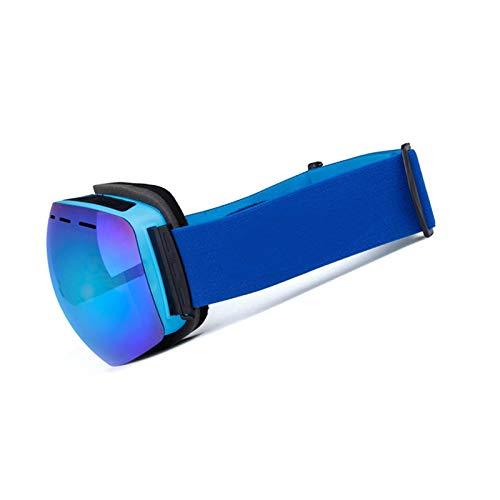 Amody Skibrille Doppel-Lagen-Anti-Fog-Skigläser Draussen Anti-Nebel und Windproof Large Spherical Myopia Skoggles Gläser Blau