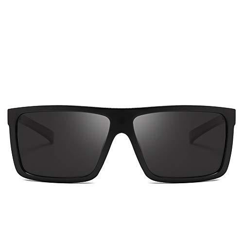 HYDYH SonnenbrillenHerren Sonnenbrille Polarisierte Flat Top Sonnenbrille Driving Sun Brille Herren Hochwertiger Rechteckstil, Sandschwarz