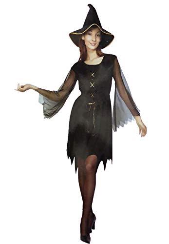 DIGITAL SPOT Damen Kostüm ZigeunerHexe, Halloween, Horror-Kleid, Party-Kostüm Gr. One Size, Gypsy Witch Costume (Schuhe Halloween Kostüm Gypsy)