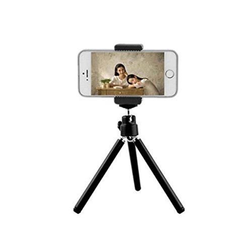 Teléfono mini trípode teléfono con cámara de video de escritorio soporte portátil , small two black + double hole clip (Telefono Camara)