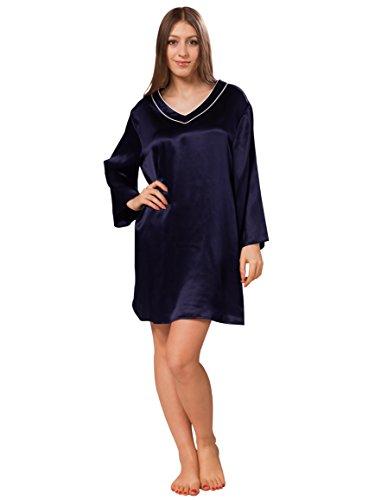 ELLESILK Natürliche Maulbeerseide Nachthemd, Seide Schlafrock Lange Ärmel, Hautfreundlich & Komfortabel, Navyblau/Weiß, XS (Charmeuse V-ausschnitt Tunika)