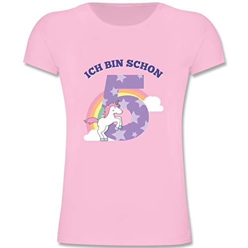 Geburtstag Kind - Ich Bin Schon 5 Einhorn - 128 (7/8 Jahre) - Rosa - F131K - Mädchen Kinder T-Shirt