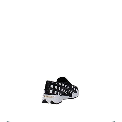 Scarpe Donna PINKO SEQUINS1H207H Y23z Sneaker tessuto ricamato Primavera Estate 2016 blanc/noir