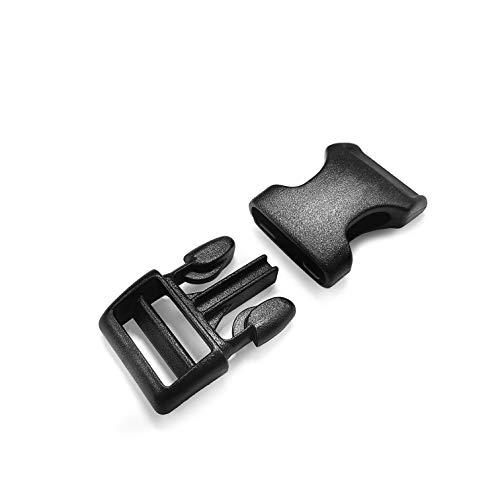 Ganzoo klick-Verschluss aus Kunststoff im 10er Set, extrem stabil, 3/4' / Klippverschluss/Steckschließer/Steckverschluss für Hunde-Halsbänder, Rucksack, Farbe: schwarz