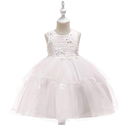 Bademode Bowknot Princess Dress Lace Mesh Blumenmädchen Kostüm Klavier Performance Kleidung 3-11Jahre Bikinis (Color : White, Size : 5-6Years) (Lace Mesh Kostüm)