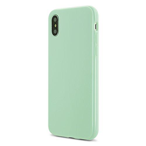 Coque iphoneX case cover Etuis en Gel Silicone et TPU Coussin d'air [Anti-rayures] Premium Flexible et Souple pour iphoneX(2017)transparente vert menthe