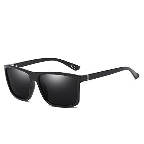 BVAGSS Herren Sonnenbrille Mit Polarisierte Gläser Outdoor Sportarten Schutz Brille UV-Schutz Fahrbrille (Black Frame With Gray Lens)