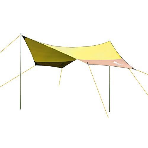 GEERTOP Sonnensegel Tarp Außenzelt Wasserdicht 4-7 Personen für Camping - 440x410 cm (2,1 kg) - Inklusiv Zeltstangen (Gelb)