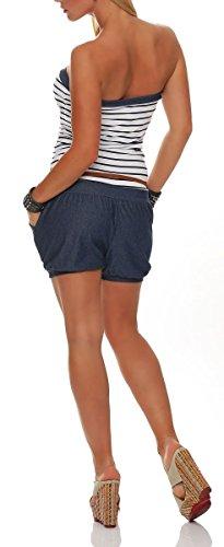 malito Damen Einteiler kurz im Marine Design | Overall mit Gürtel | Jumpsuit im Jeans Look | Romper - Playsuit 9646 Weiß