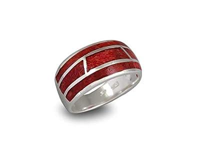 Bague-Femme-Bijoux créateur-Corail sur anneau d'argent massif