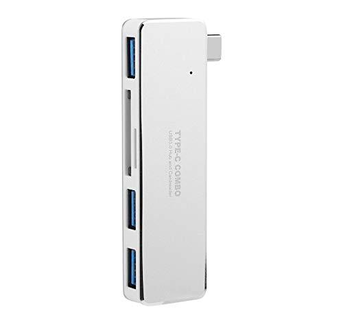 GreatFun Kartenleser Adapter USB C Hub, Aluminium 5in1 Typ C Hub Adapter, 3 USB 3.0 Ports, 1 TF Kartenleser, 1 SD Kartenleser, Aluminium Adapter