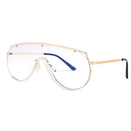 YMTP Mens Vintage Brillen Rahmen Große Gold Metallrahmen Unisex Einteilige Linse Winddicht Frauen Rahmen Gläser, Silber Mit Klar