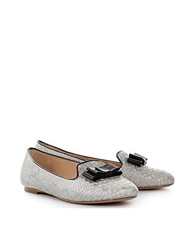 ShoeVita handgefertigte Loafer Damen Leder Slipper Python Schlange Grau & Schwarz Größe 33 - 45 Grau