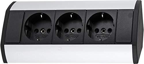 Aufbau Aluminium Steckdosenleiste 3-fach - horizontal + vertikal - 230V 3680W - schwarz-silber -