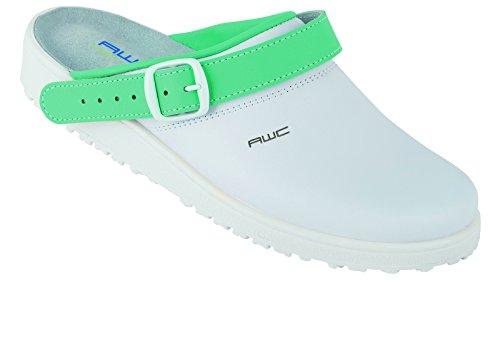 AWC  Sandale weiß/mint, Ristpolster, Sandales pour femme Noir - Weiß/Mint