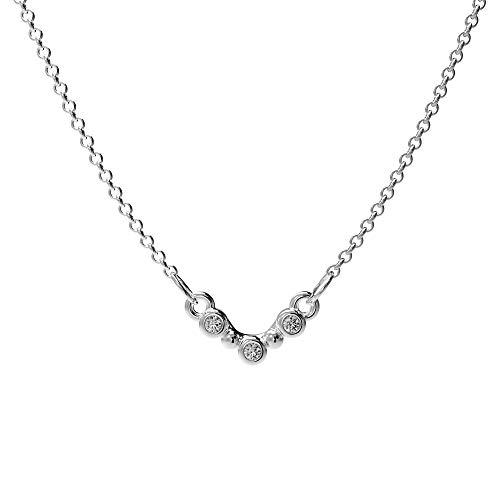 prettique Damen Halskette Stella mit drei gefassten Zirkonia Steinen