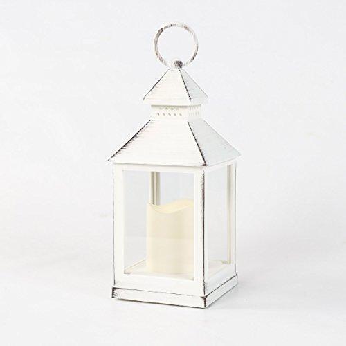 Festive Lights Laterne für den Außenbereich, batteriebetrieben, Metall-Effekt, warmweiße LED, Weiß