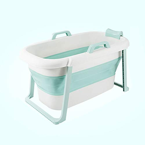 ZA Falten Bad Barrel, Adult Badewanne, Verdickung Haushalt Dusche Badewanne, freistehende Badewanne mit Fuß, Outdoor leichte tragbare Kunststoff-Badewanne (Farbe : Grün)