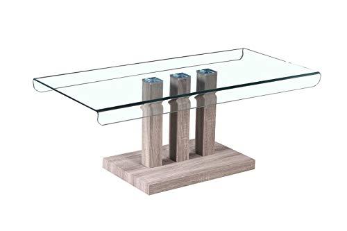 Meubletmoi Table Basse Verre Transparent Solide - Design Moderne - piétement Bois - Wood - Ice