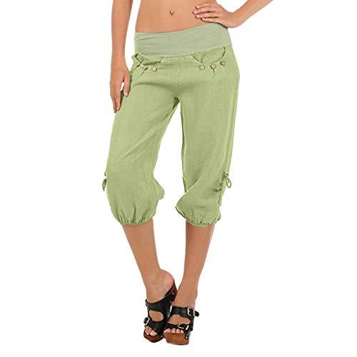 KIMODO Damen Boho Check Hose mit weitem Bein, elastische Taille Baggy Taschen Sommer Freizeithose Sport Yoga Sieben Punkte Pants