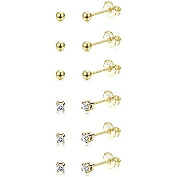 3d4cb6428 Sllaiss 6 Pairs Sterling Silver Tiny Ball Stud Earrings for Women Girls  Round CZ Earrings Set