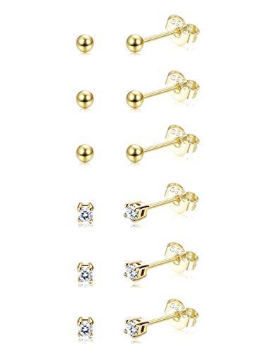 Sllaiss 6 Paar Sterling Silber Tiny Ball Ohrringe Ohrstecker für Damen Frauen Mädchen Runde CZ Ohrringe Set Unisex Hypoallergen Gold