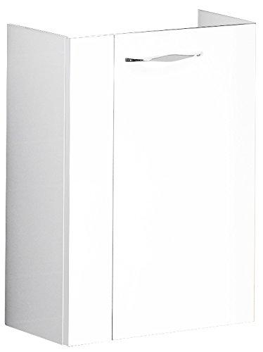 FACKELMANN Mini-Waschtischunterschrank SCENO/Badschrank mit gedämpften Scharnieren/Maße (B x H x T): ca. 44 x 60 x 24 cm/Schrank fürs Bad/Türanschlag frei wählbar/Korpus: Weiß/Front: Weiß