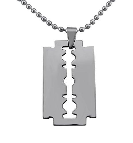 Hanessa Schmuck für Männer Rasier-Klinge Messer Anhänger Herren Halskette Edelstahl-Kette in Silber Geschenk zu Weihnachten für den Freund/Mann