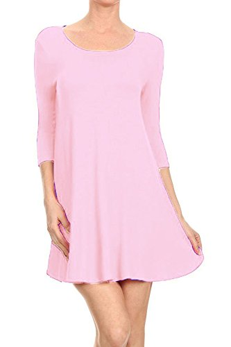 - 31sS9mVYd1L - Hot Hanger Womens Long Sleeve Scoop Neck Skater Dress UK 8-28  - 31sS9mVYd1L - Deal Bags