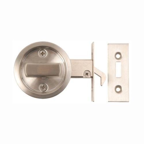 Schloss für WC- und Badezimmerschiebetür, für Privatsphäre, rund, mit Münzschlitz-Öffnung, matter Edelstahl