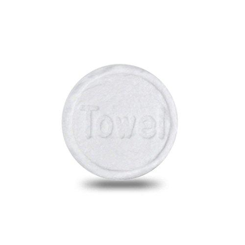 Erfrischungstücher 100 Stück in Form von Tabletten | Trockentuch platzsparend wiederverwendbar | Feuchttücher | Universaltuch 100% biologisch abbaubar in Weiß -