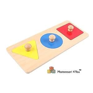 Materiale Montessori, Incastri delle forme geometriche, 3 forme