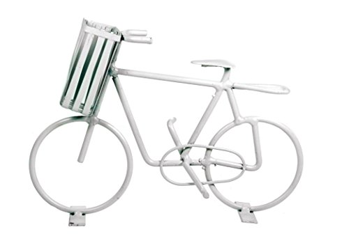Deko Fahrrad mit Korb weiß aus Metall Dekoration Geldgeschenk Bike Geld Urlaub