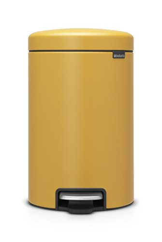 Brabantia newIcon Treteimer 12 L Sense of Luxury, Edelstahl, mineral mustard gelb, 12 Liter