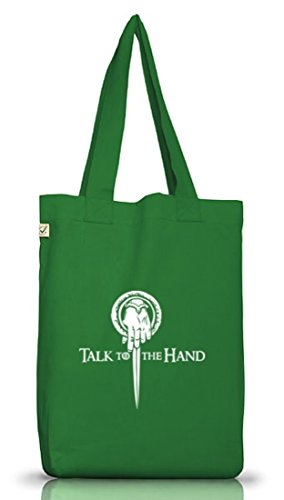 Shirtstreet24, Talk To The Hand, Jutebeutel Stoff Tasche Earth Positive (ONE SIZE) Moss Green